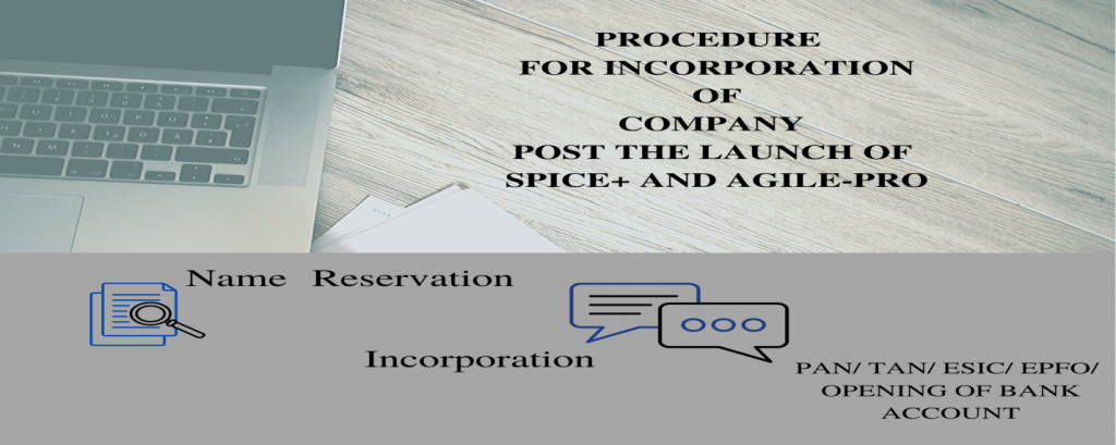 Procedure for Incorporation of a Company post the launch of Spice+ and Agile-Pro